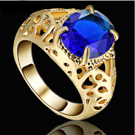 Royal Blue Gemstone With Gold Band Ring - US9