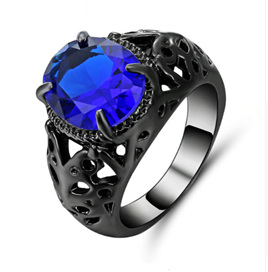 Royal Blue Gemstone With Gunmetal Band Ring - US9