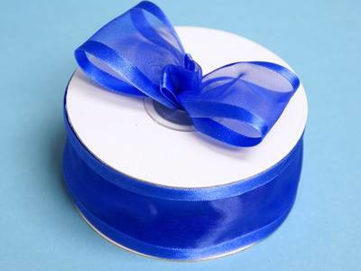 Royal blue organza ribbon with a satin edge