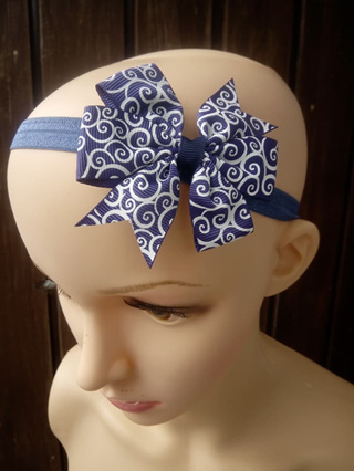 Royal Blue With White Patterns Hair Band