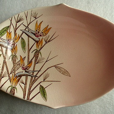 Royal Winton - bird of paradise pink dish