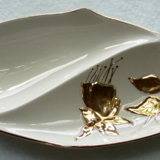 Royal Winton - white, gold two part dish