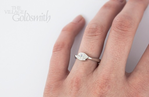 Rub over Marquise Diamond Ring on Hand