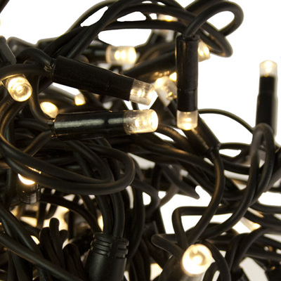 Black Rubber Cable 10m Connectable Outdoor Fairy Lights 100LEDs - Warm White