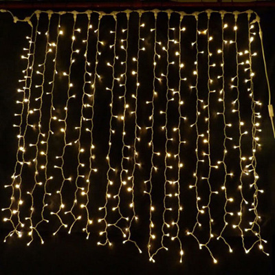 Outdoor Rubber Wire Connectable 3x3m 600LEDs Curtain Lights-Warm White Or White