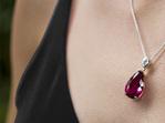 Rubellite and Diamond Pendant