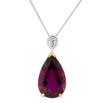 Rubellite and Diamond Pendant