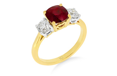 Ruby and Diamond Cushion Cut Ring