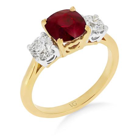 Ruby and Diamond Cushion Cut Ring
