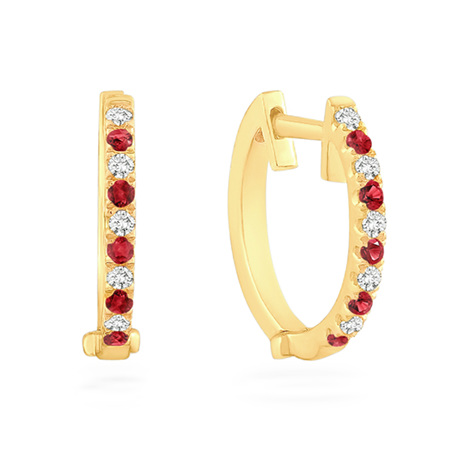 Ruby and Diamond Set Yellow Gold Huggie Earrings