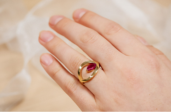 Ruby Marquise and 18ct Yellow Gold Handcrafted dress ring