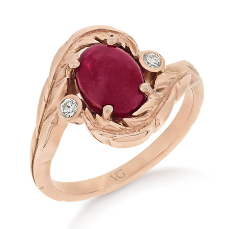 Ruby Oval Cabochon Rose Gold Ring