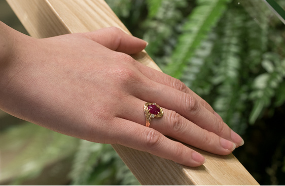 Ruby Ring, Ruby Cabochon Ring, Rose Gold Dress Ring, Dress Ring, Rose Gold