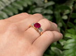 ruby ring, ruby diamond ring, ruby three stone, new zealand rings,