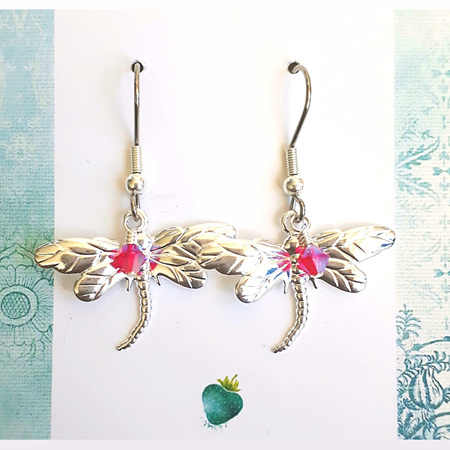RUBY  -  Silver & Red Dragonfly Earrings