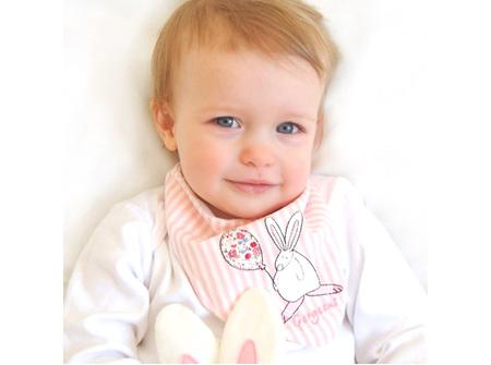 Rufus rabbit Baby Girl Deluxe Dribble Bib- Newborn to 12 Months