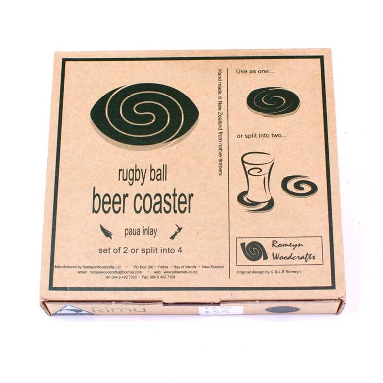 rugby ball beer coaster packaging