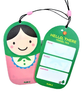 Russian Doll Luggage Tag: Green & Pink