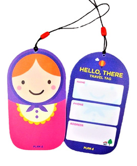 Russian Doll Luggage Tag: Violet & Hot Pink
