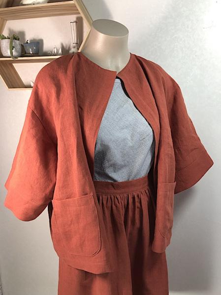 Rust linen painters jacket