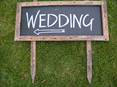 rustic blackboard with stake wedding and event hire