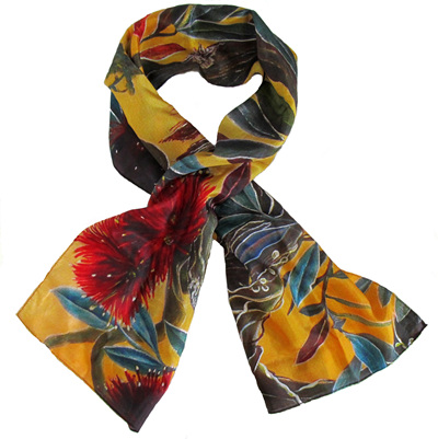 S09 Silk Scarf Orange Pohutukawa (Sharon Belcher)