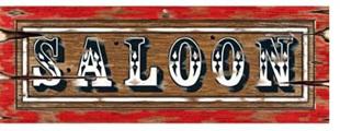 Saloon cardboard sign