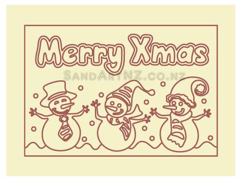 SandART NZ - Christmas Cards,  Postcards, Snowmen dancing, snowman