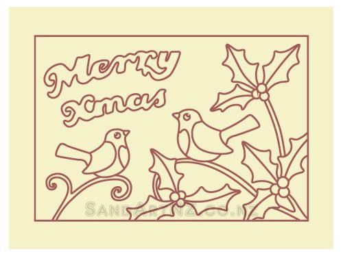 SandART NZ - Christmas Cards, Robbin, Holly, birds on holly, Postcards