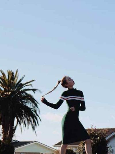 Sandy Dress - Green  w/ white stripe