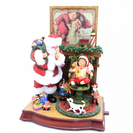 Santa and Child Lights and Music Ornament