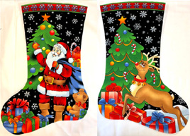 Santa and Reindeer Stockings Panel