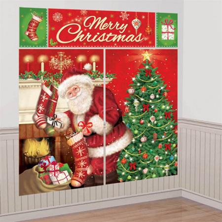 Santa filling stockings magical Christmas