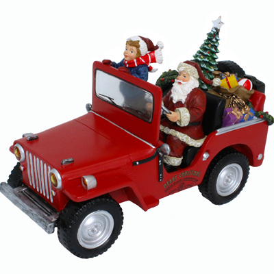 Santa in truck with lights and music