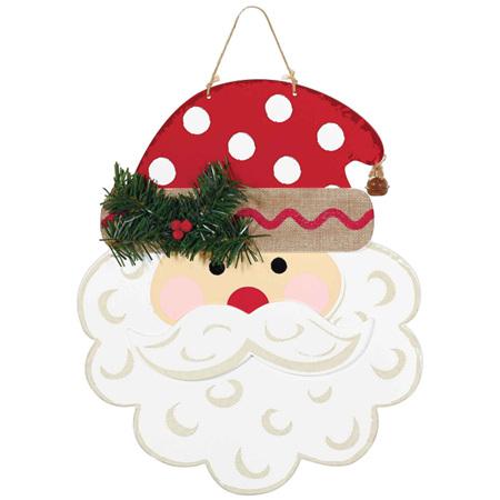 Santa - MDF with burlap bow and ribbon hanger