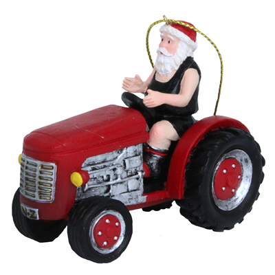 Santa on a tractor - decoration