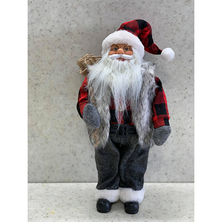 Santa Red/Black Check with Gift Bag 46CM
