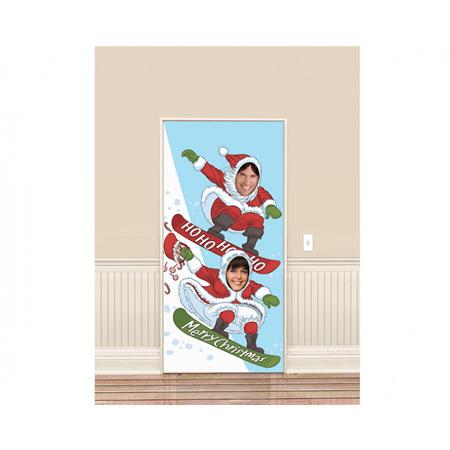 Santa snowboarding photo prop