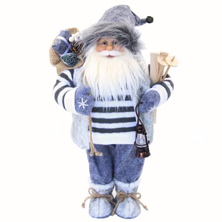 Santa standing grey/white knit jersey - 45cm.