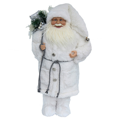 Santa - standing white with wooly jacket