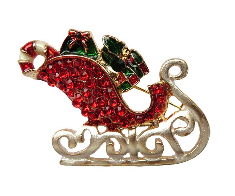 Santa's Sled Brooch