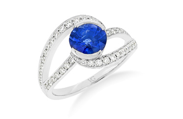 Sapphire and Diamond Twist Ring