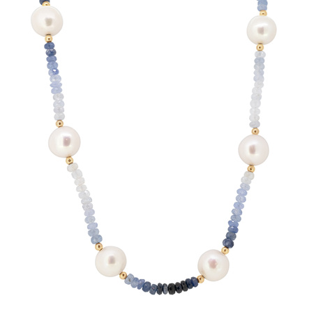 Sapphire and Freshwater Pearl Necklace