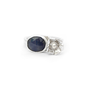 sapphire blue rosecut flower sterling silver small ring petite floral botanical