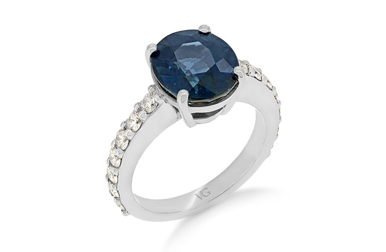 Sapphire Diamond Ring, Diamond Dress Ring, Sapphire Dress Ring