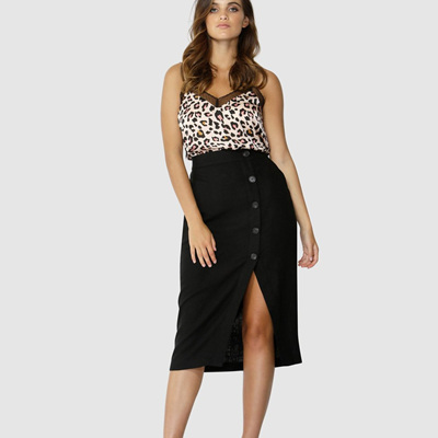 SASS INTO THE WILD BUTTONED SKIRT