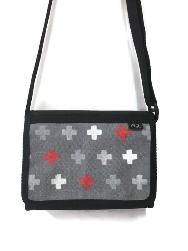 Satchel bag in grey with orange crosses made in NZ