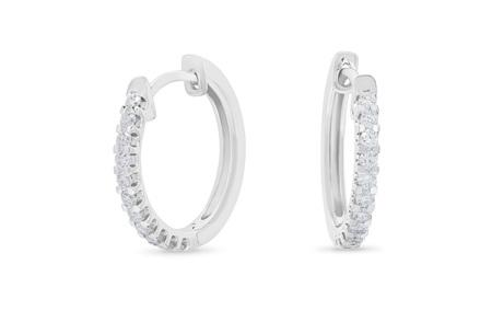 Scallop Set Diamond Hoop Earrings