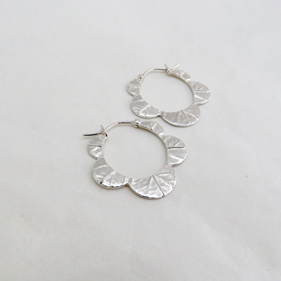 Scalloped Leaf Hoops