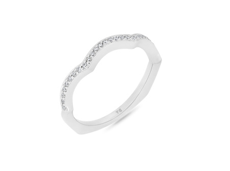 Scalloped Shape Bead Set Diamond Wedding Band